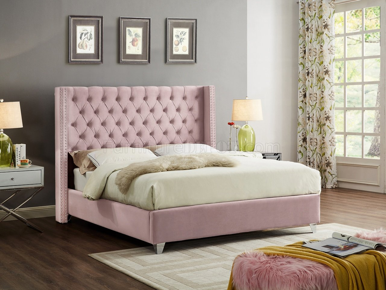 Aiden Bed in Pink Velvet Fabric by Meridian wOptions