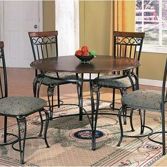 Steel Chair Dining Table Grey Accent Chairs With Arms Wood Top And Metal Base Classic W Optional