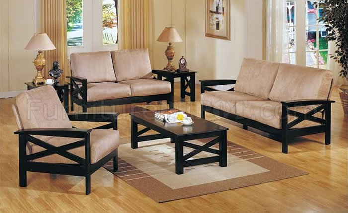 wood frame living room furniture ideas for wall decor beige microfiber contemporary with wooden