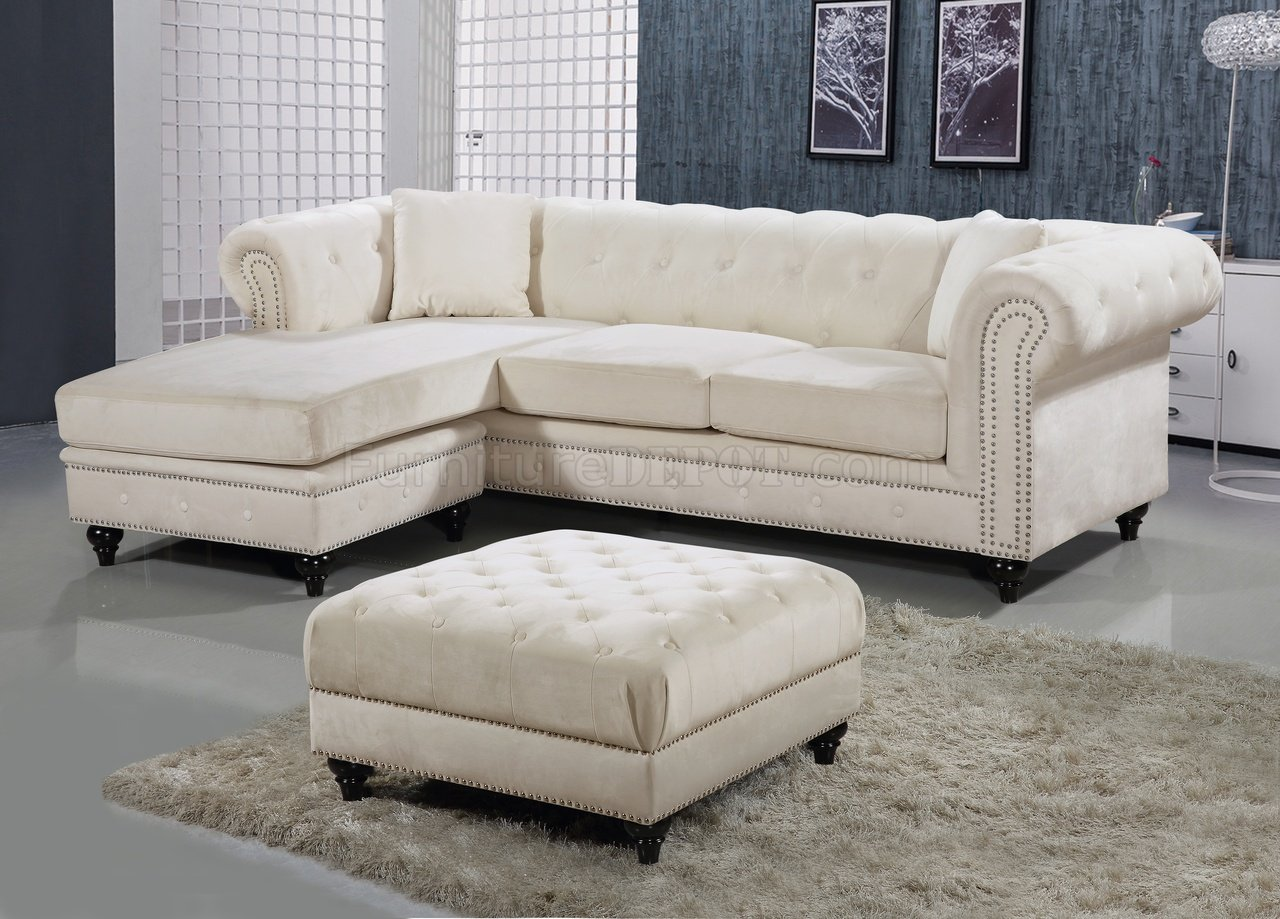 sabrina sofa couch slipcovers sectional 667 in cream velvet fabric by meridian