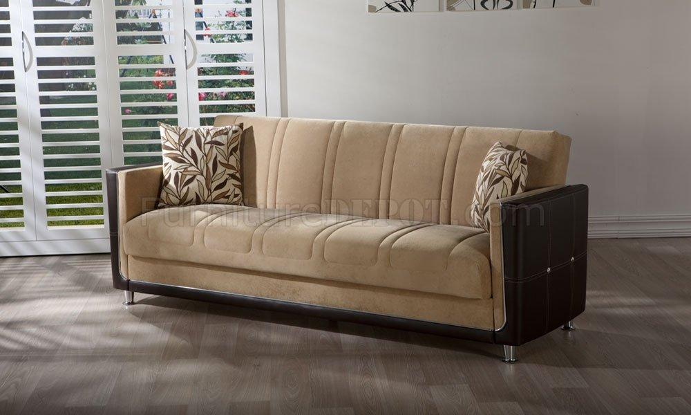 Phaselis Cream TwoTone Living Room Storage Sleeper Sofa