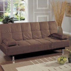Convertible Futon Sofa Bed Lounger Foam Fold Up Brown Microfiber Contemporary