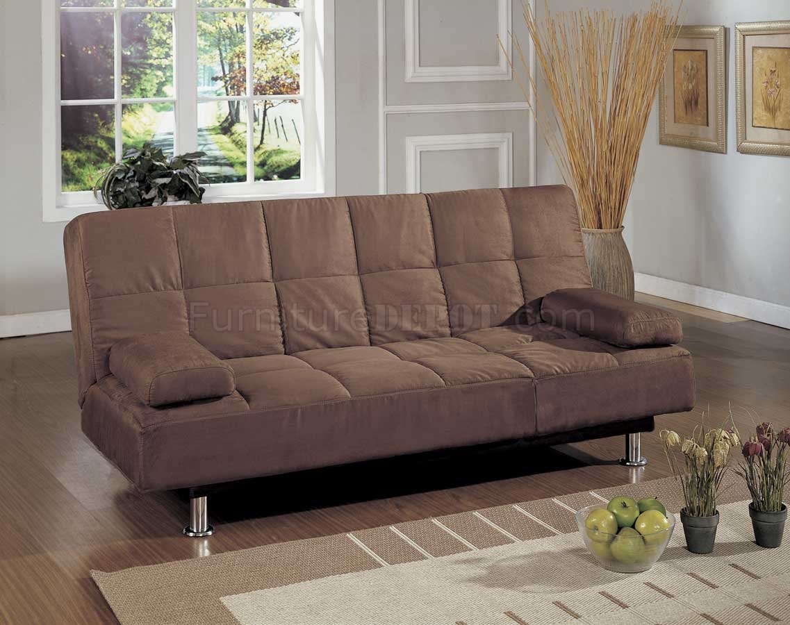 sofa bed lounger sure fit stretch t cushion slipcover brown microfiber contemporary convertible