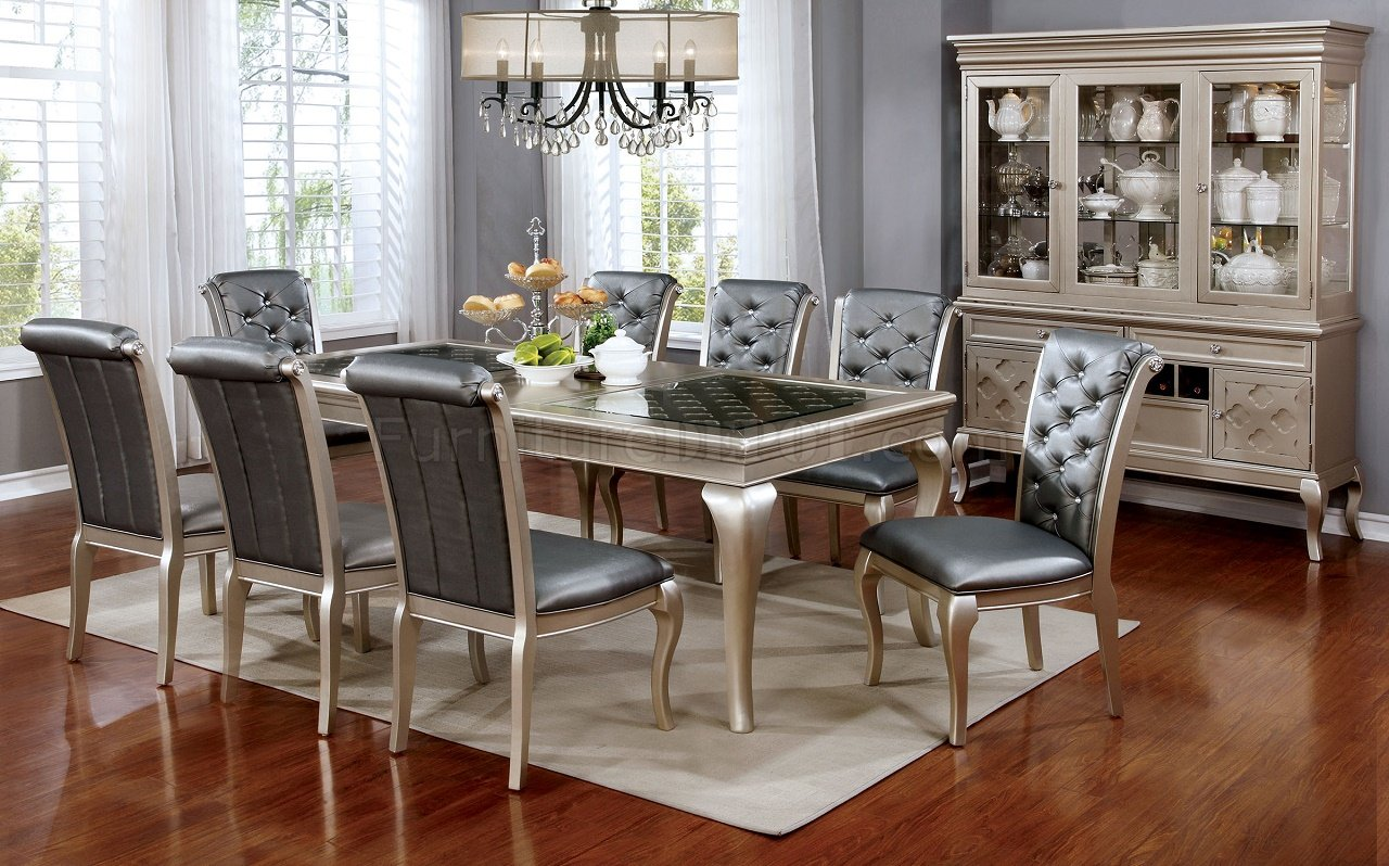 kitchen table with leaf insert storage ideas amina cm3219 dining in champagne w options