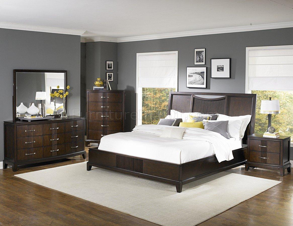 Dark Espresso Finish Contemporary Bedroom wOptional Items