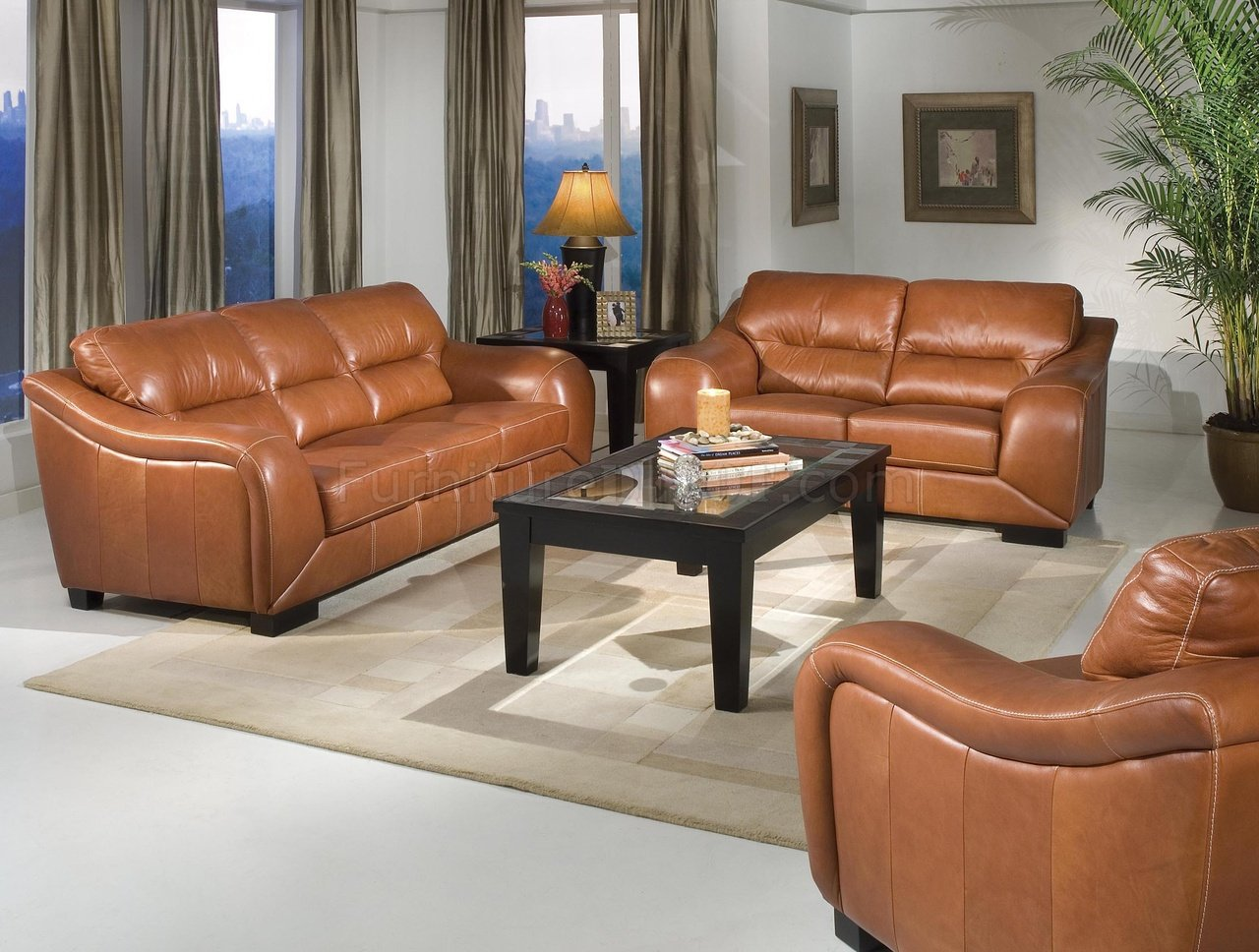 chestnut colored leather sofa bed for studio apartment contemporary living room w waterfall arms