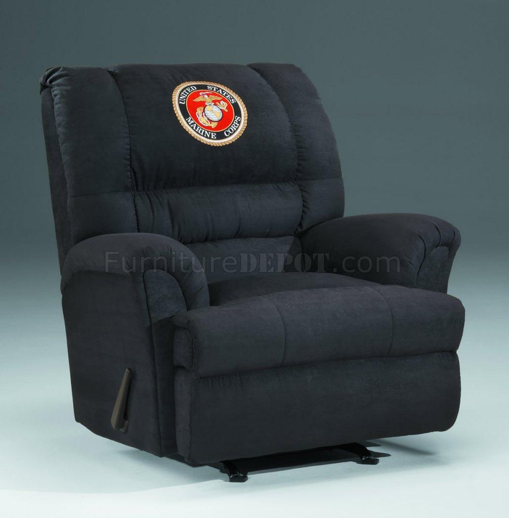 black microfiber sofa set carlyle loveseat size sleeper fabric modern rocker recliner w/us marines emblem