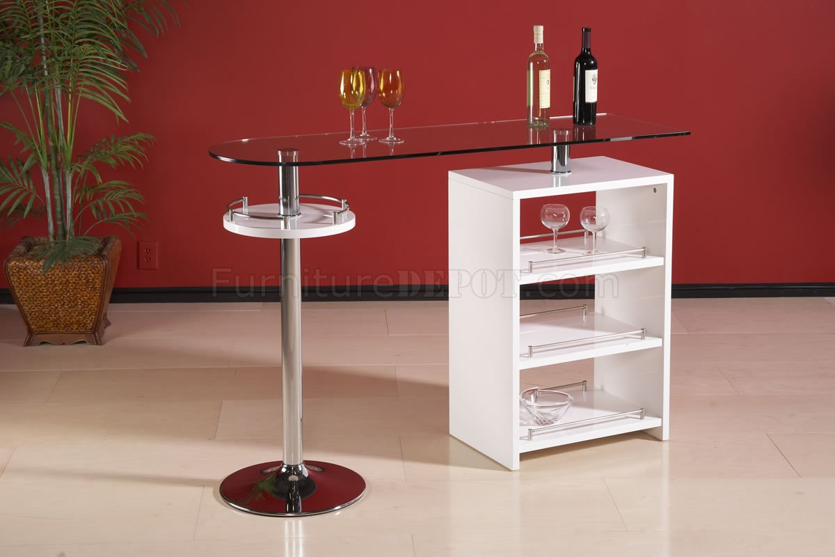 Clear Glass Top Modern Bar Table wGloss White Storage