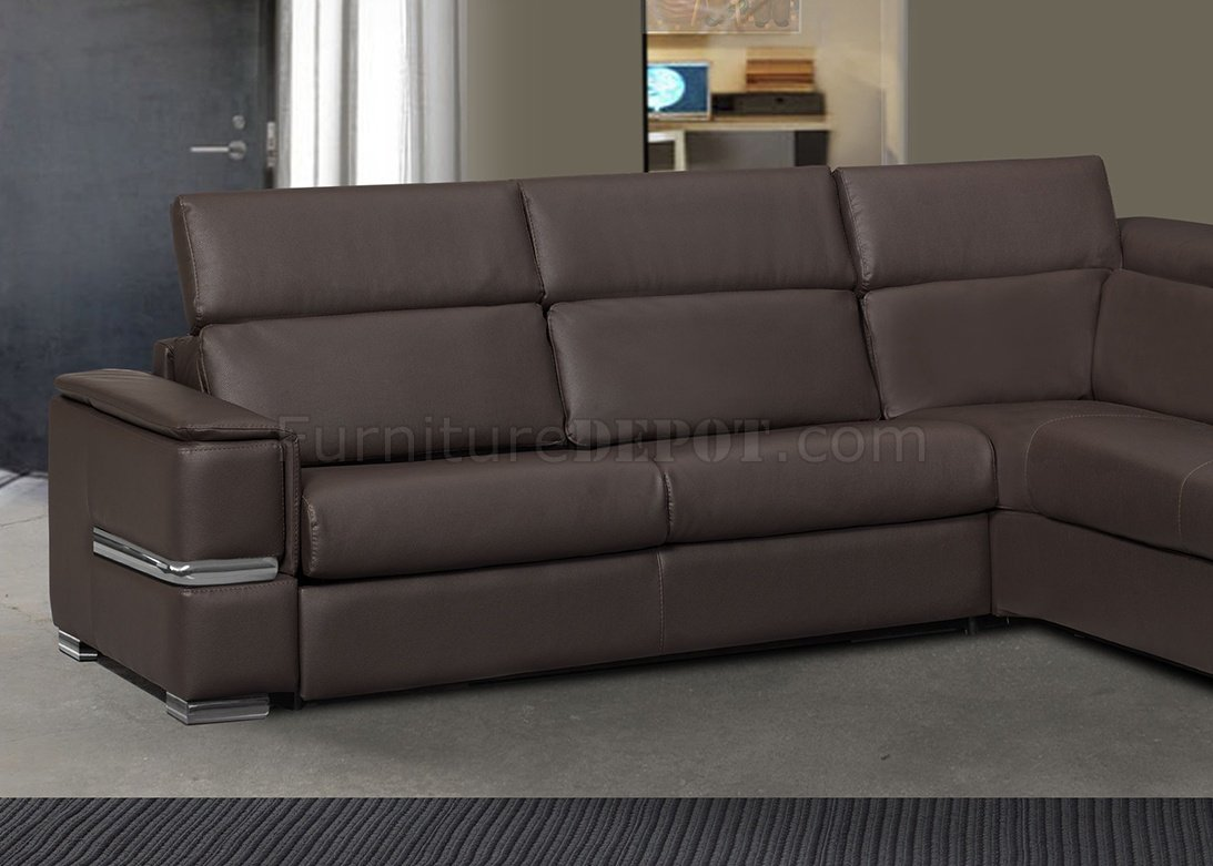 brown sectional sleeper sofa tufted leather limo in full by esf w