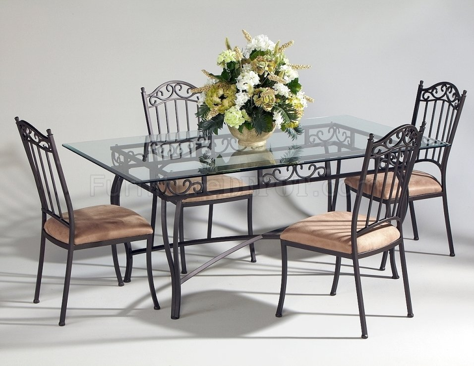 steel chair dining table pier one accent chairs canada 0710 5pc set by chintaly w rectangular glass top