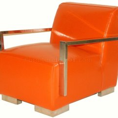 Orange Leather Chairs Wedding Chair Covers To Buy Wholesale Bi Cast Modern Lounge W Metal Arms And Legs