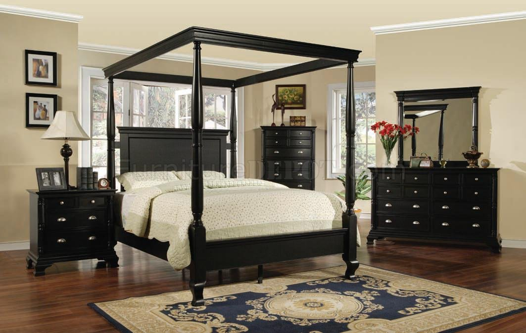 Black Transitional 6 Pc Canopy Bedroom Set