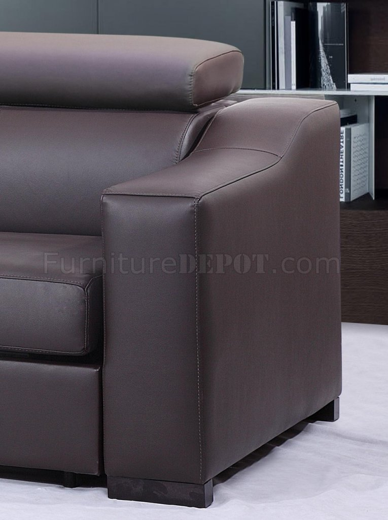 Chocolate Brown Italian Leather Modern Sleeper Sectional Sofa
