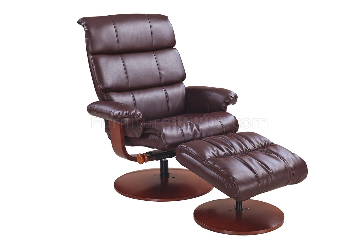 reclining chair with ottoman leather caning kit calgary whiskey bonded modern recliner w