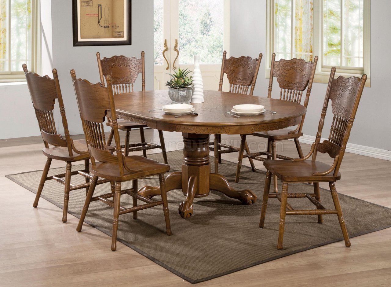Brooks Dining Table 104270 By Coaster In Oak WOptions