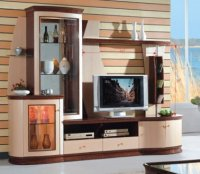 Two-Tone Contemporary Wall Unit With Liquor Cabinet