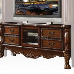 Traditional Leather Sectional Sofas Slate Top Sofa Table Dresden Tv Stand 91338 In Cherry By Acme W/optional Wall Unit