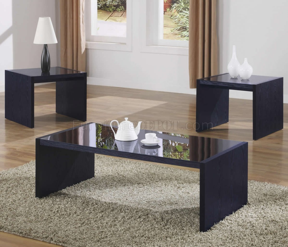 black modern 3pc coffee table set w
