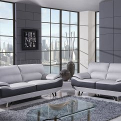 White Bonded Leather Sectional Sofa Set With Light Italian Sofas Direct From Italy U7330 In & Dark Grey By Global