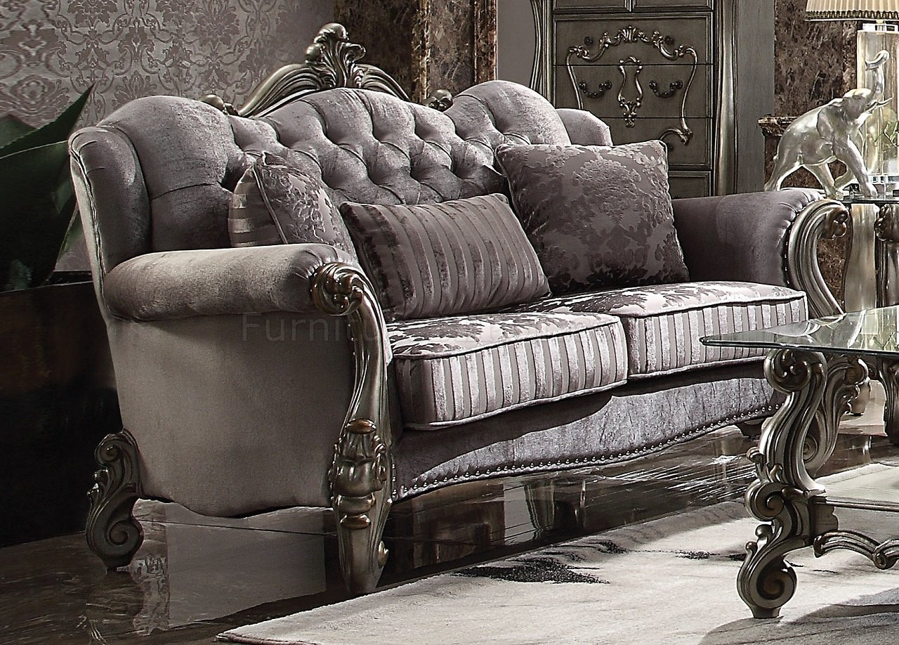 sectional convertible sofa ercol isola leather versailles 56840 in silver velvet & antique platinum ...