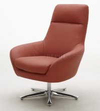 Orange, Brown or Off White Top Grain Leather Modern Swivel ...