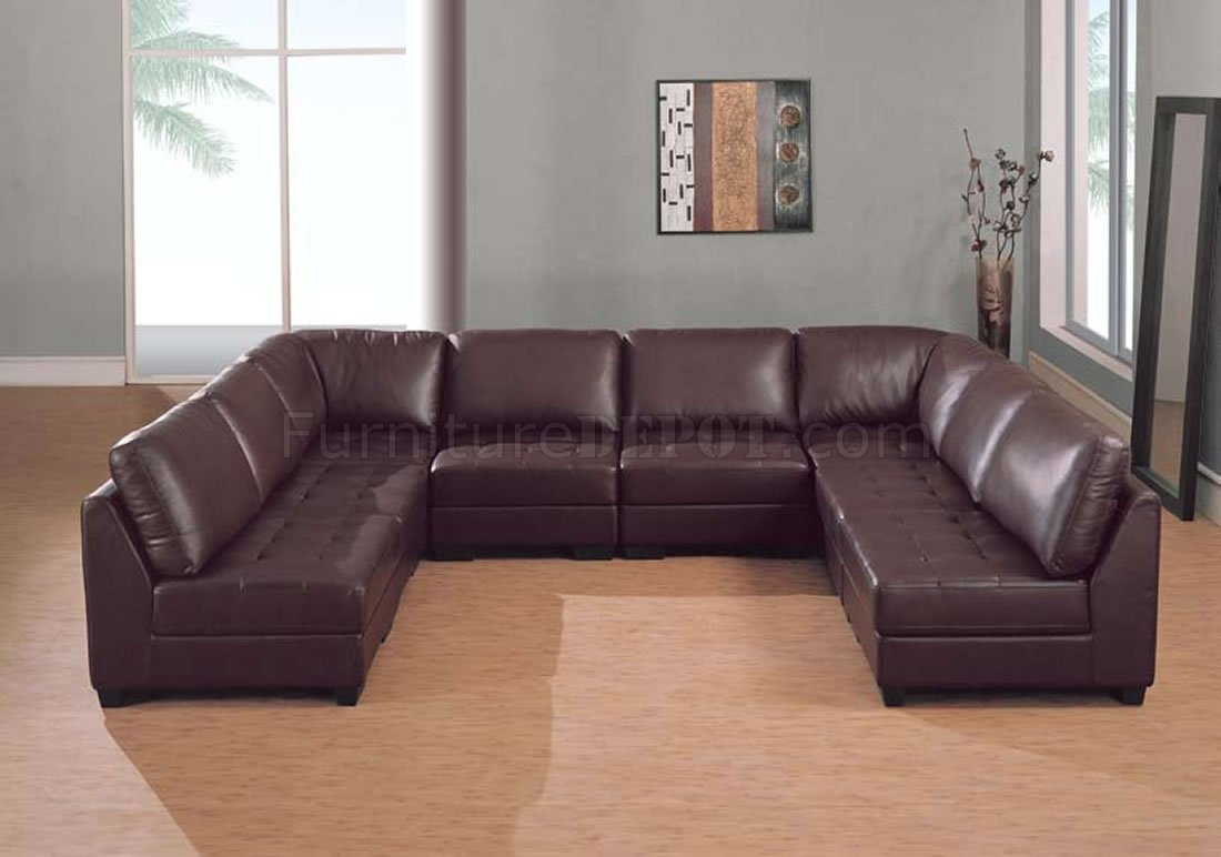 Brown Leather 8 Pc Modern Sectional Sofa WTufted Seats
