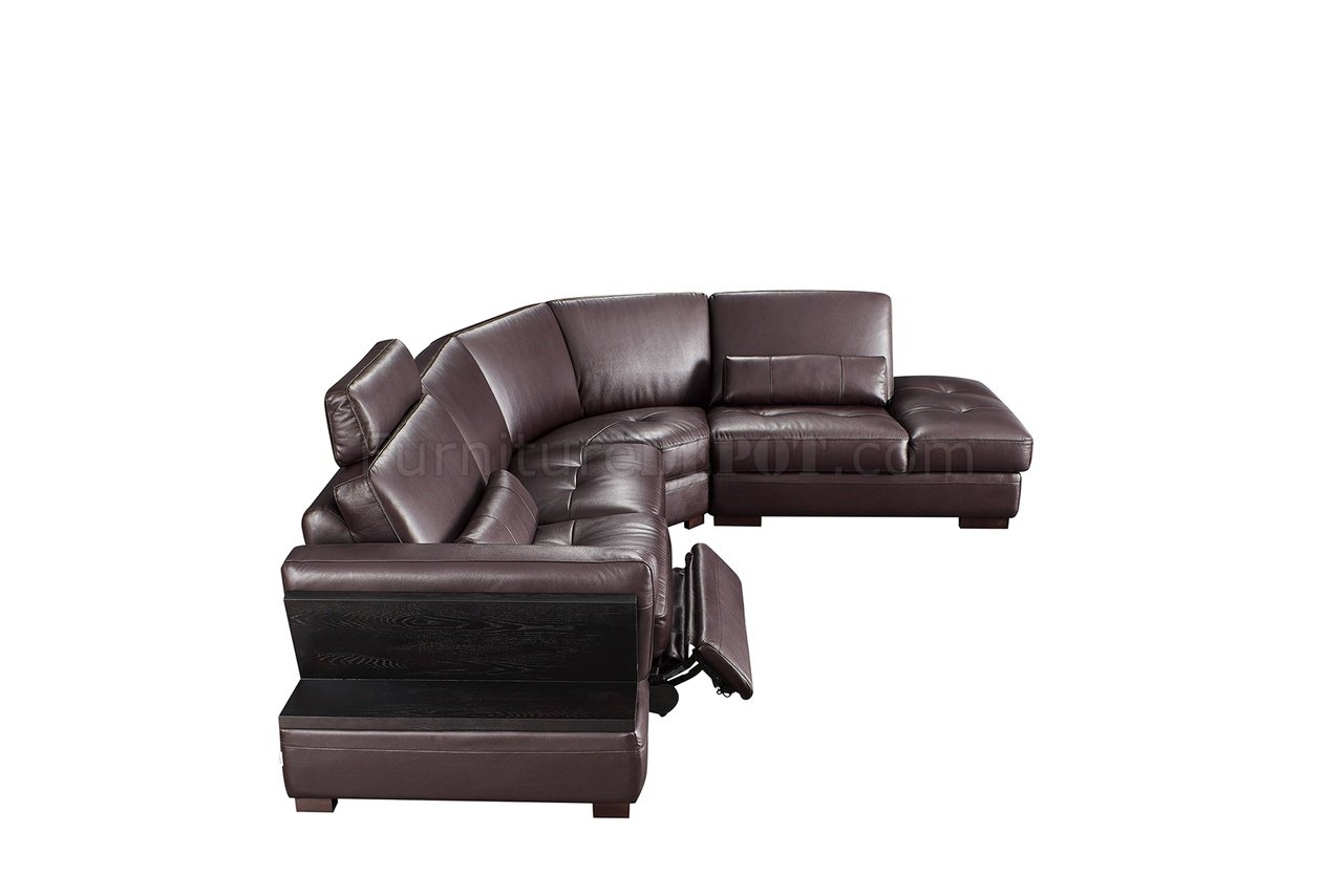 brown leather sofa recliner velour covers 445 motion sectional by esf w power