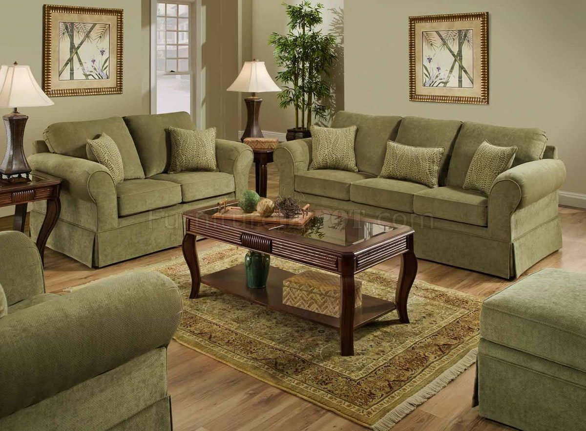 Arlington Moss Fabric Sofa  Loveseat Set wOptional Items