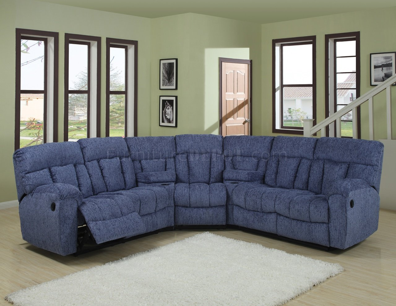 blue fabric recliner sofa cindy crawford home beachside natural or beige modern 5pc reclining sectional