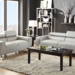 Jcpenney Sofa Sets Dwell Paris Bed Review F7265 And Loveseat Set Light Grey Bonded Leather By Poundex