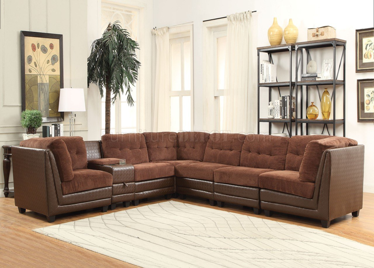 acme sectional sofa chocolate bed jennifer convertibles vlord 52230 in brown chenille and pu by