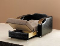 Caprio Chair Bed in Brown Chenille Fabric