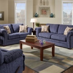 Living Room With Loveseat And Chairs Wall Posters For Plush Blue Fabric Casual Modern Sofa Set