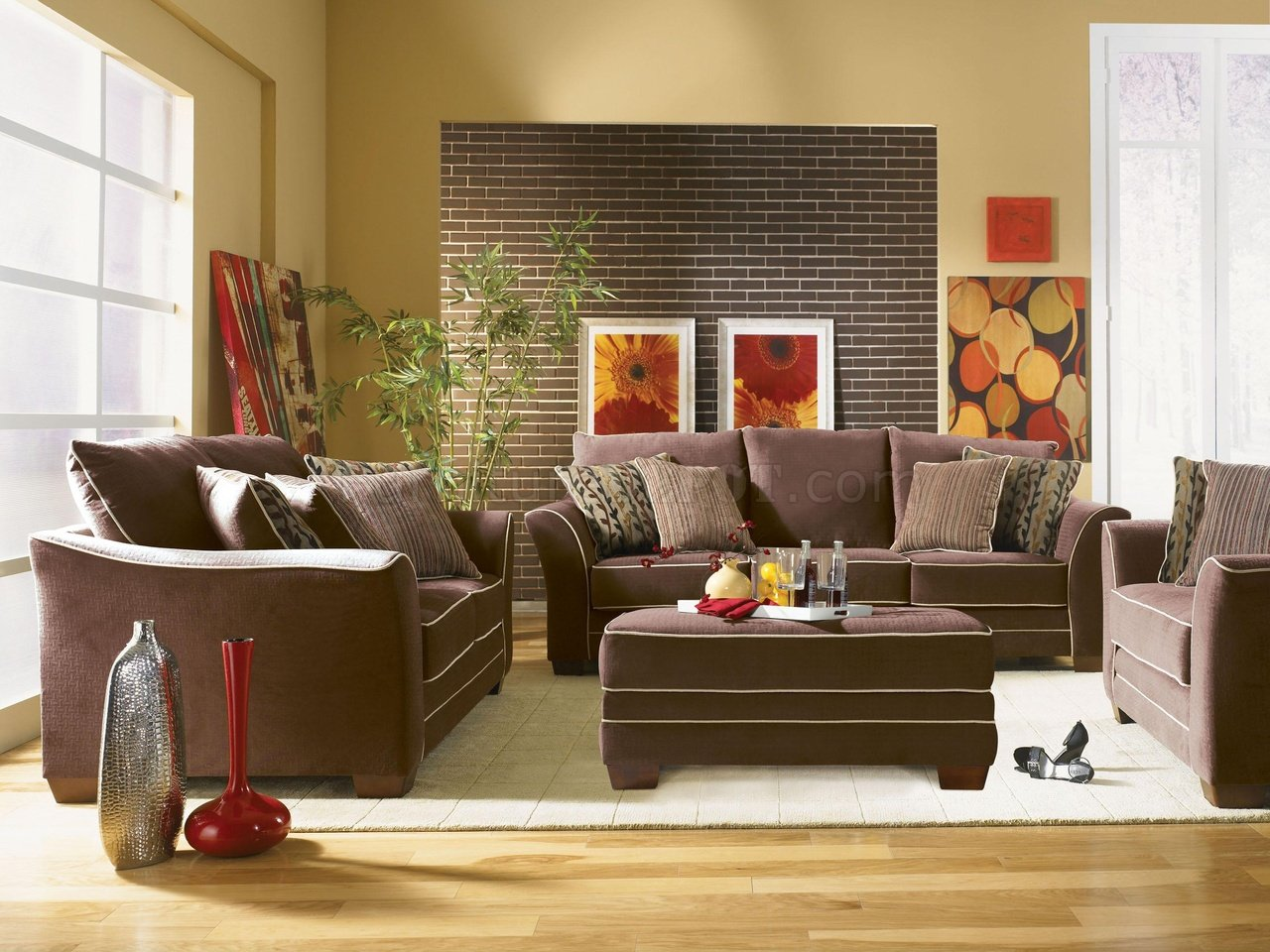 Fabric Transitional Living Room Opulence U204 Cocao