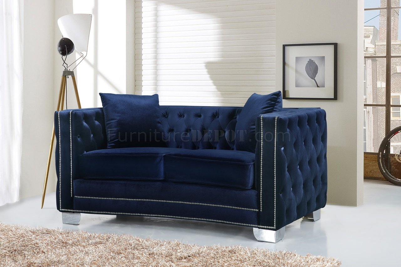 navy blue leather club chair party city baby shower rental reese 648 sofa in velvet fabric w/optional items