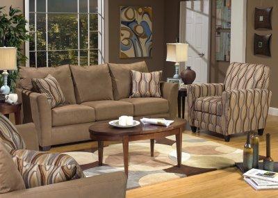 Beige Suede Fabric Modern Sofa  Loveseat Set wOptions