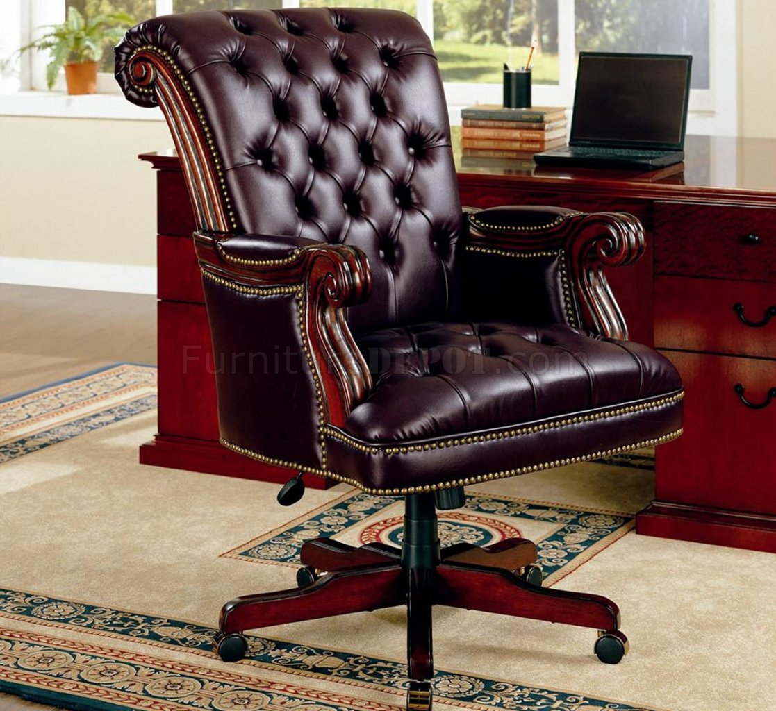 office chair club reviews real good traditional burgundy vinyl executive w nailhead trim