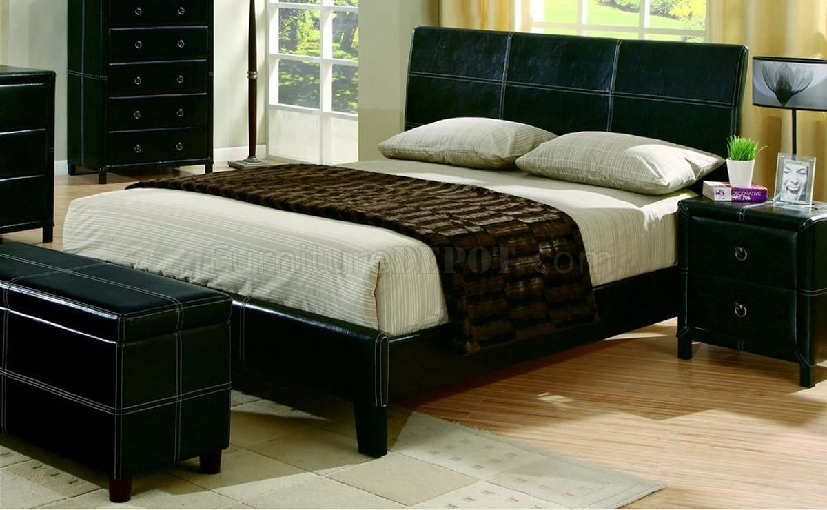 Black Bycast Leather Contemporary 5Pc Bedroom Set wStitchings