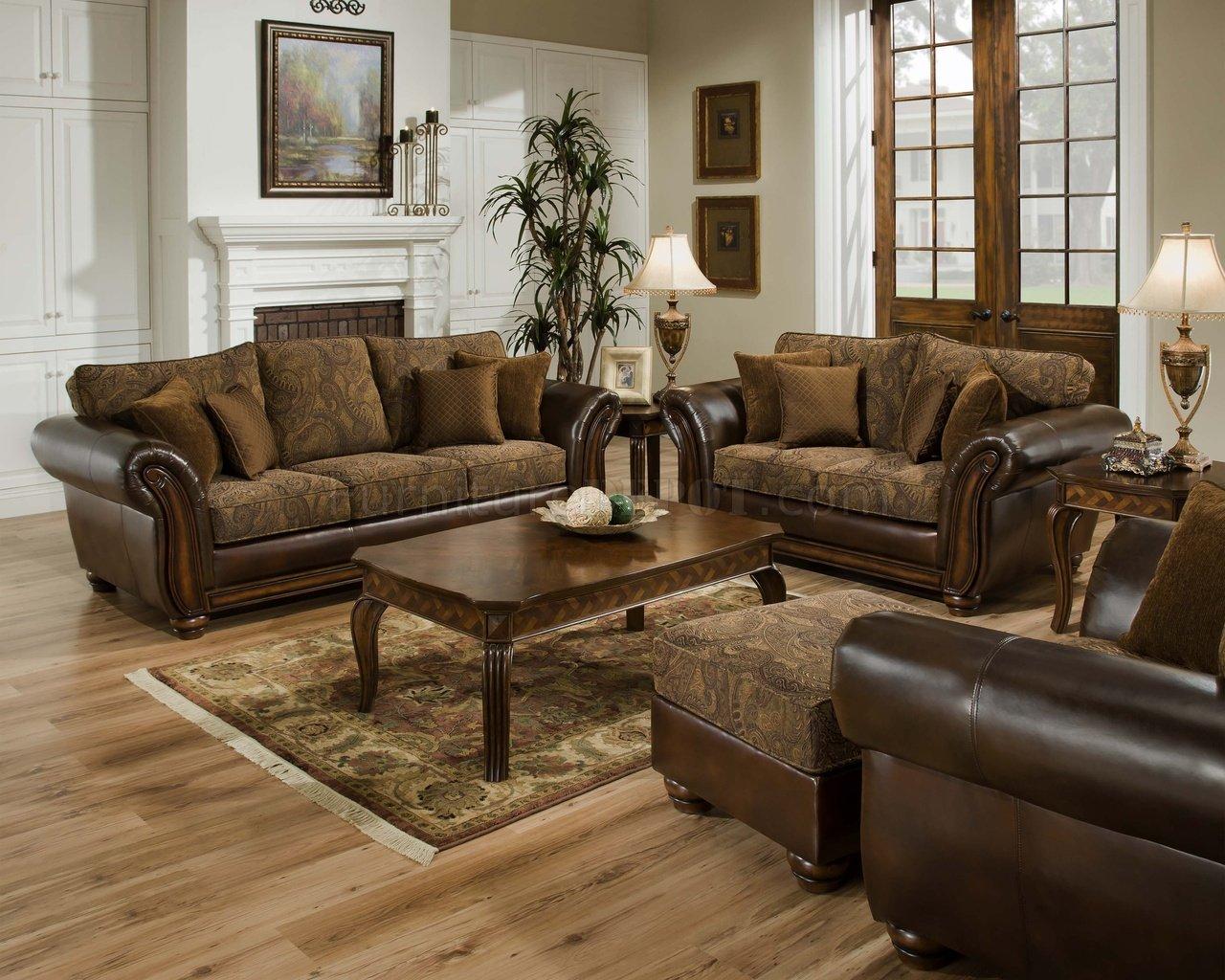 leather and chenille sofa sofas online kaufen schweiz vintage loveseat set w brown bonded base