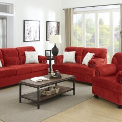 Red Microfiber Reclining Sofa Beds Melbourne Plush F7918 Loveseat And Chair Set In Fabric By Poundex