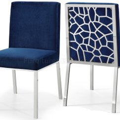 Navy Blue Dining Chairs Set Of 2 Wicker Indoor Opal Chair 736 In Velvet Fabric By