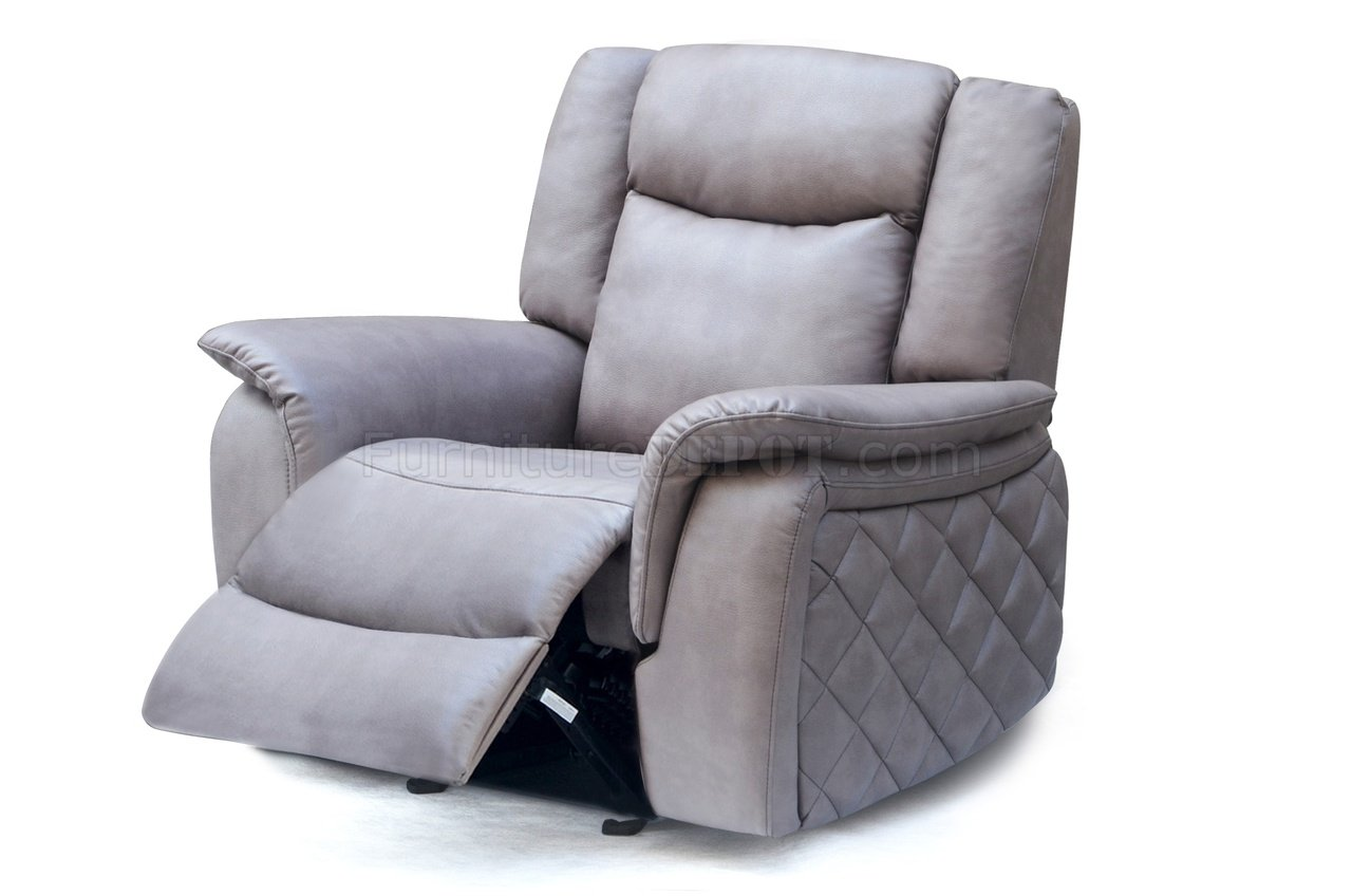Carly 628 Motion Sofa in Grey Leather Air wOptional Items