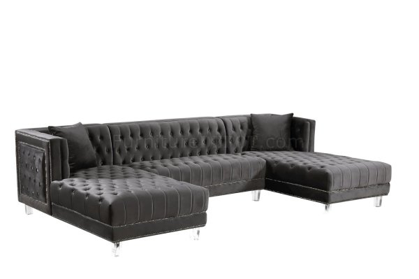 Moda Sectional Sofa 631 In Grey Velvet Fabric Meridian