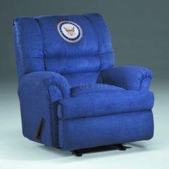 Blue Fabric Recliner Sofa Day Futon Modern Rocker W Us Navy Emblem