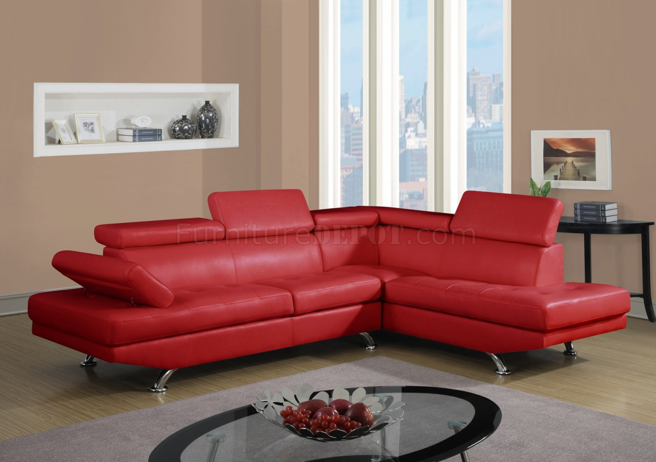 u9782 sectional sofa in red bonded