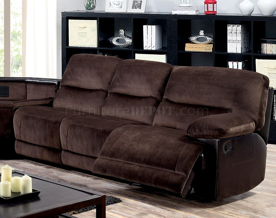 leather sectional sofas with power recliners real sofa sets sale glasgow reclining cm6822 in brown microfiber