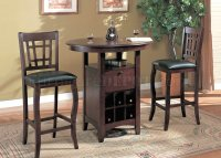 Brown Finish Modern 3 Pc Bar Table & Stools Set w/Wine Rack