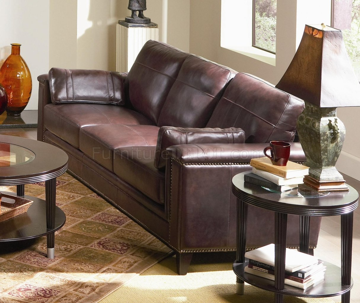Top Grain Leather Traditional Style Sofa 502441 Brown