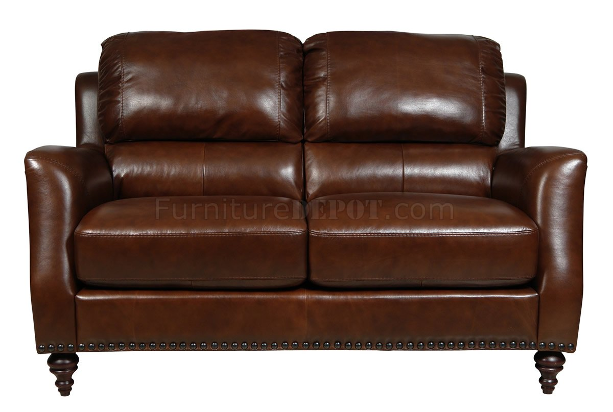 classic italian leather sofa oversized pillow covers brown full 4pc set w wooden legs