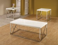 701594 3Pc Coffee Table Set in White by Coaster